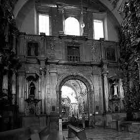 church in puebla by Cristobal Garciaferro Rubio - Buildings & Architecture Places of Worship ( b/w, church, bench, mexico, puebla, black and white, interior, building, monotone )