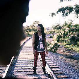 Lost by Marcus Dorsey - People Fashion ( fashion, railroad tracks, lost, railroad, light, people )