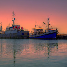 Tranquility by Ferdinand Veer - Transportation Boats ( fishing boats, sunset, south africa, sunrise, seascape )