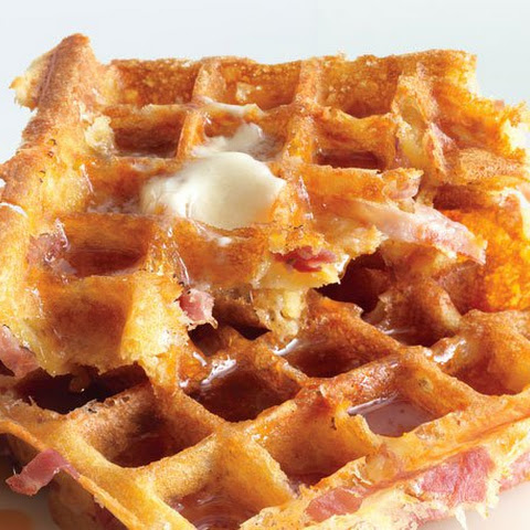 Ham and Cheddar Waffles with Bacon