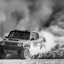 Evo  by Abdul Rehman - Black & White Sports ( sand, thrill, pakistan, adventure, desert, dangerous sport, dust, dangerous, dusty, baluchistan )