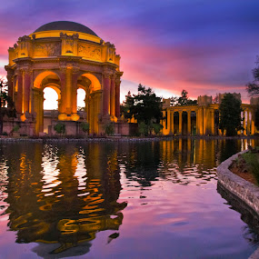 Palace of Fine Arts - San Francisco by Lee McLaughlin - Travel Locations Landmarks ( fine arts, palace of fine arts - san francisco, sunset, time exposure, - san francisco, california, twilight, night, architecture, palace )