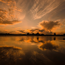 Easthaven after the Storm by Ben Leng - Landscapes Beaches ( clouds, water, sand, scotland, reflection, nature, angus, sunset, beach, storm )