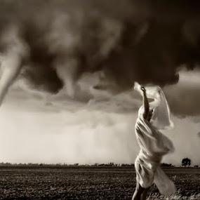 Tornado Coming by Melanie Metz - Digital Art Places ( field, funnel, woman, weather, storm, tornado )