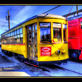 Turn Back Time by Peter Michael - Transportation Trains ( trolley, hdr, colorful, hotel, museum )