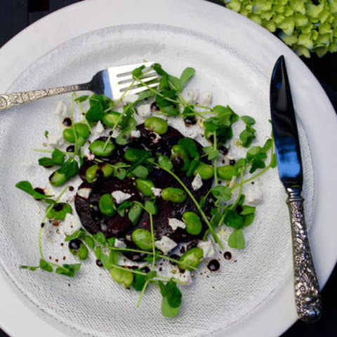 Roasted Beet & Fava Bean Salad with Pea Shoots & Ricotta Salata