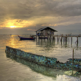 Stranded Boat! by Danny Tan - Landscapes Waterscapes ( hdr, jelutong, penang, malaysia, sunrise, boat )