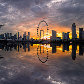 by Gordon Koh - City,  Street & Park  Skylines ( clouds, shenton way, reflection, skyline, riverfront, suntec city, cityscape, travel, singapore, city, financial district, skyscraper, sunset, asia, buildings, jubliee bridge, singapore flyer, long exposure, waterfront )