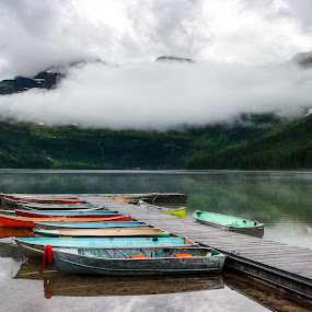 Lake Cameron by Walter Hsiao - Landscapes Waterscapes ( clouds, national park, reflection, canada, waterton, waterton lakes, boats, lake cameron, rowboats, dock )