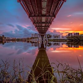 by Gordon Koh - Buildings & Architecture Bridges & Suspended Structures ( reflection, structure, sunset, asia, long exposure, bridge, architecture, lorong halus, singapore, punggol )