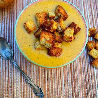 Sweet Potato & Zucchini Soup With Gluten Free Millet-Chia Croutons