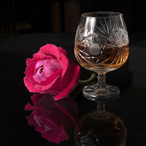 Flower and glass cup by Cristobal Garciaferro Rubio - Food & Drink Alcohol & Drinks ( rose, reflection, glass cup, cognac, roses, reflections, brandy cup, flowers, flower )