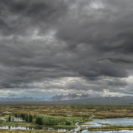 Golden Circle, Iceland by Gary Chin - Landscapes Weather ( clouds, iceland, houses, mountains, stream )