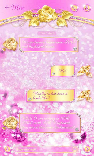 (FREE)GO SMS GOLDEN ROSE THEME For PC
