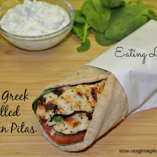 Greek Grilled Chicken Pitas with Tzatziki Sauce