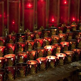 Prayer Candles by Debbie Salvesen - Buildings & Architecture Places of Worship ( religion, prayer, reflection, catholic, candles, place of worship, meditation, forgiveness, cross, , #GARYFONGDRAMATICLIGHT, #WTFBOBDAVIS )