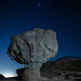 The mushroom by Ilan Abiri - Landscapes Starscapes ( landscapes, landscape photography, night, stars, long exposure, colors, rock, hill, gray, blue, light, israel, nightscape, skies, starscape, mushroom, night photography )