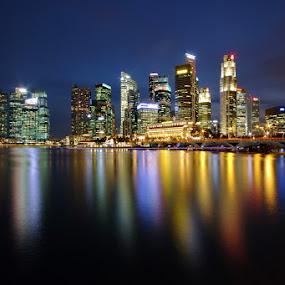 Skyline (long exposure) by Ken Goh - City,  Street & Park  Skylines