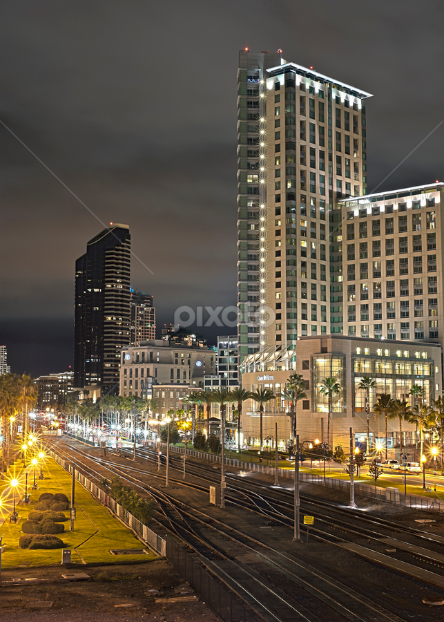 San Diego, CA by Charles Lugtu - Buildings & Architecture Other Exteriors ( san diego, architechture, hdr, nighttime, cityscape, , city, night, city at night, street at night, park at night, nightlife, night life, nighttime in the city )