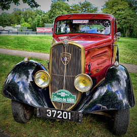Old Frenchie by Marco Bertamé - Transportation Automobiles ( vintage, 201, number, french, yellow, peugeot, 3, 2, 1, number plate, flood lights, 0, red, 7, goldenvlack, oldtimer, car wing )