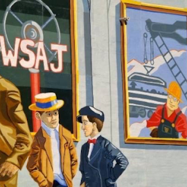 The Mural on a buildingl downtown Pa by Terry Linton - City,  Street & Park  Vistas ( red brim hat ribbon, red shirt on man, scene, painting, letters,  )