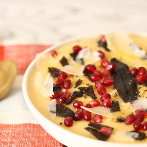 Polenta with Pomegranate Seeds and Shaved Parmesan