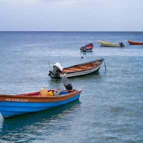 Calm Seascape by Frederic Rivollier - Landscapes Waterscapes ( calm, boats, sea, saint lucia, fishing )