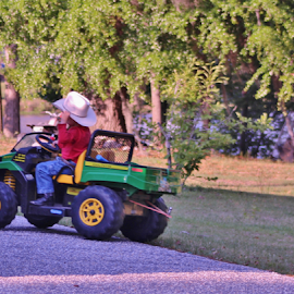 COWBOY ON HIS JOHN DEERE TUG A LONG by Terry Linton - Transportation Other (  )