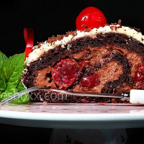 Chocolate roll with cherry Black forest