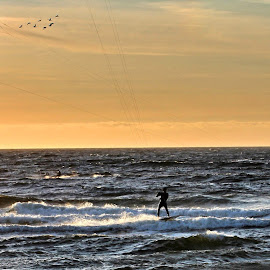 Kiting by Roar Randeberg - Sports & Fitness Watersports ( shore, wind, watersports, sunset, waves, kiting, seascape )