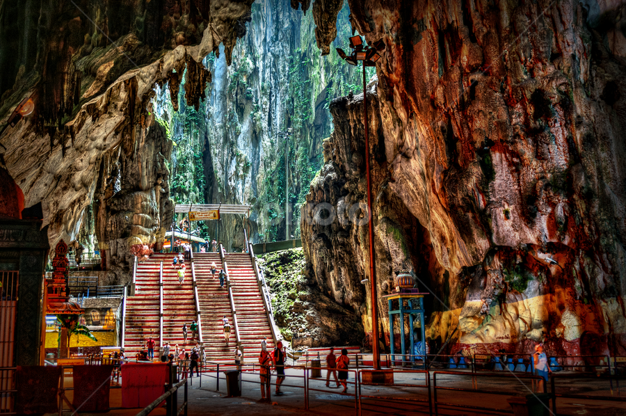 Batu Caves by Joey Rico - Landscapes Caves & Formations ( cave, liight, hindu, caves, temple, malaysia, batu, interior,  )