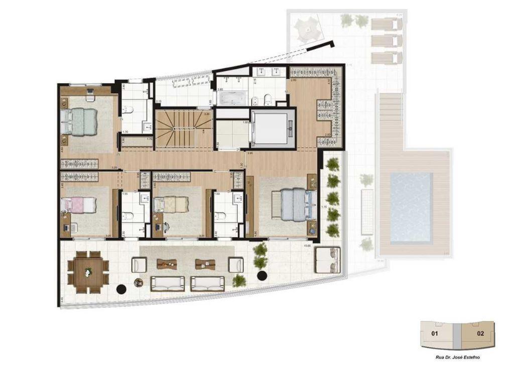 Planta Cobertura Duplex Pav Superior - 460  m²