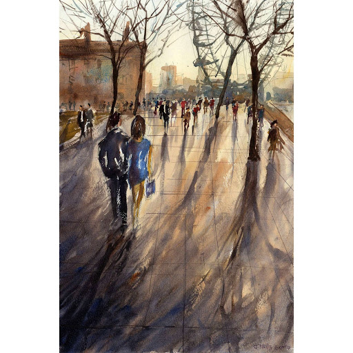 London Southbank painting art watercolour