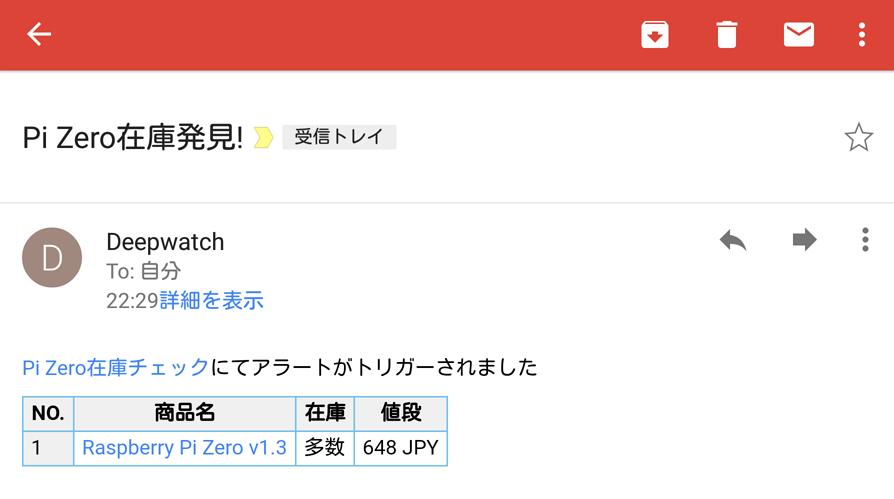 Raspberry Pi Zero在庫通知メール
