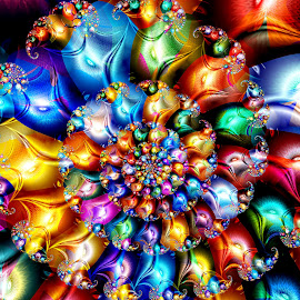 Glimmering Spiral by Peggi Wolfe - Illustration Abstract & Patterns ( abstract, wolfepaw, gift, unique, bright, illustration, fun, digital, print, décor, ultrafractal, pattern, color, unusual, fractal )