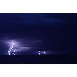 Kilkunda lightning Strike. by Dean Brandt - Landscapes Weather ( longexposure, nightphotography, night, storm, bolt, wow, awesome, lightning, amazingnight, nightsky, weather, nightsofwonder, storms, nature, kilcunda,  )