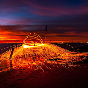 Light Painting under the Twilight by Ted Khiong Liew - Abstract Light Painting ( #light painting #sunset #twilight #sea #water )