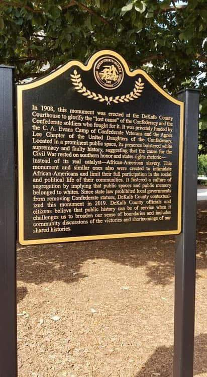 Georgia makes it a crime to move or eliminate monuments to the fight for slavery So my hometown, left with no other option, put up this sign for context.Submitted by @ASFleischman