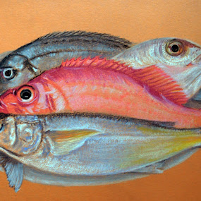 On a platter by Jasna Dragun - Painting All Painting ( pastel, fish, painting )