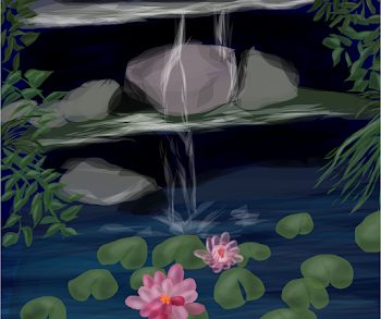 rocks and water and lily pads