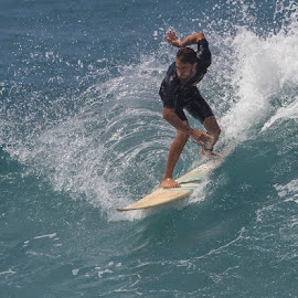 Afternoon Delight by Janet Marsh - Sports & Fitness Surfing ( maui, surfer, honokeana bay )