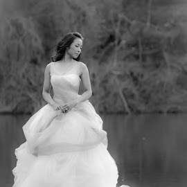 by Marisol Valerio - Wedding Bride ( #b&w, #weddingdress, #bride, #wedding, #romance )