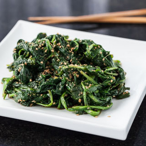 Japanese Sesame Spinach Salad with Dandelion Greens (Goma-ae)