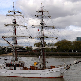 Aphrodite in Greenwich by DJ Cockburn - Transportation Boats ( england, flag, aphrodite, london, sailing, tall ship, canary wharf, holland, maritime greenwich, dutch, sails, sailboat, river thames, brig )