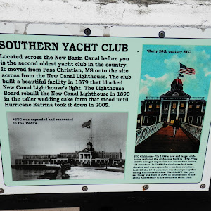 Located across the New Basin Canal before you is the second oldest yacht club in the country. It moved from Pass Christian, MS onto the site across from the New Canal Lighthouse. The club built a ...