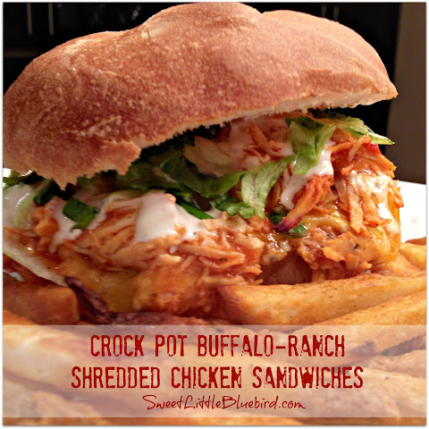 Crock Pot Buffalo-Ranch Shredded Chicken Sandwiches