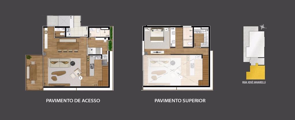 Planta Apto Duplex 134 m², 136 m² e 137 m²