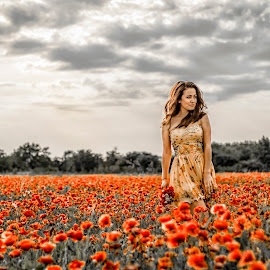 Mel by Boris Dimitrov - People Portraits of Women ( sexy, girl, red, dress, poppy, flowers, light, sun )