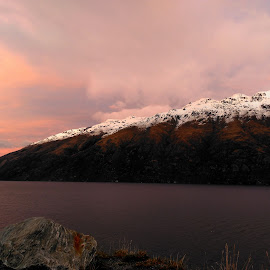 Winter Sunrise on Lake Wakatipu by Perla Tortosa - Instagram & Mobile Android ( clouds, mountains, winter, snow, lake )