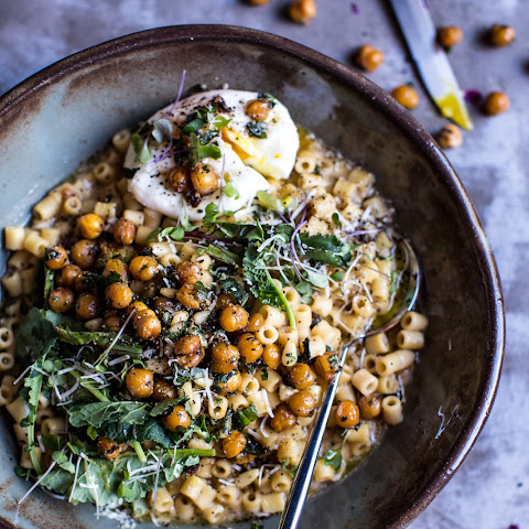 "Quick + Simple Pasta ""Risotto"" with Herbed Roasted Chickpeas."